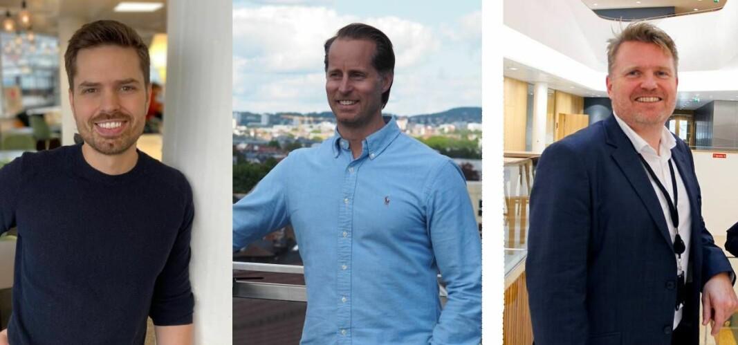 Alf Gunnar Andersen i Horde, t.v. og Christoffer Andvig i Neonomics har vært svært kritiske til Sparebankens Vests fremdrift når det gjelder å få API-er på plass. Kjetil Sørtun, leder for Banking Services i Sparebanken Vest, t.h. svarer på kritikken