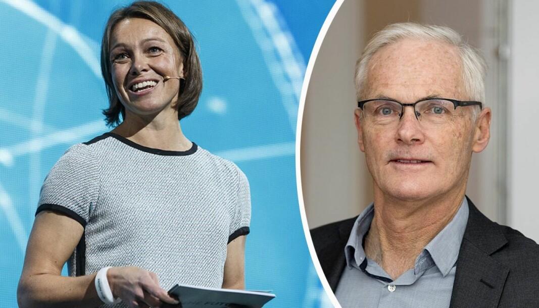 Konkurransedirektør Lars Sørgard svarer direktør for partnerskap ved StartupLab, Karianne Melleby.