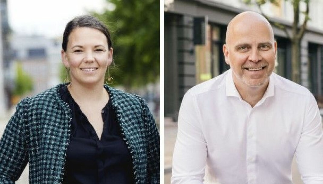 Linn Hoel Ringvoll, styreleder i Norsk Crowdfunding Forening og kommersiell direktør i Monner, Marius Dybdahl.