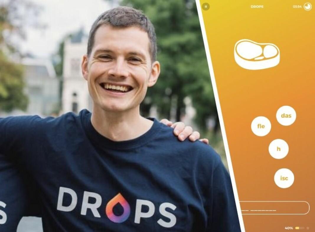 Drops er en ganske smal språk-app, som tar sikte på å forbedre brukerens vokabular. Her ved den ungarske medgründeren og selskapets daglige ledere, Daniel Farkas.