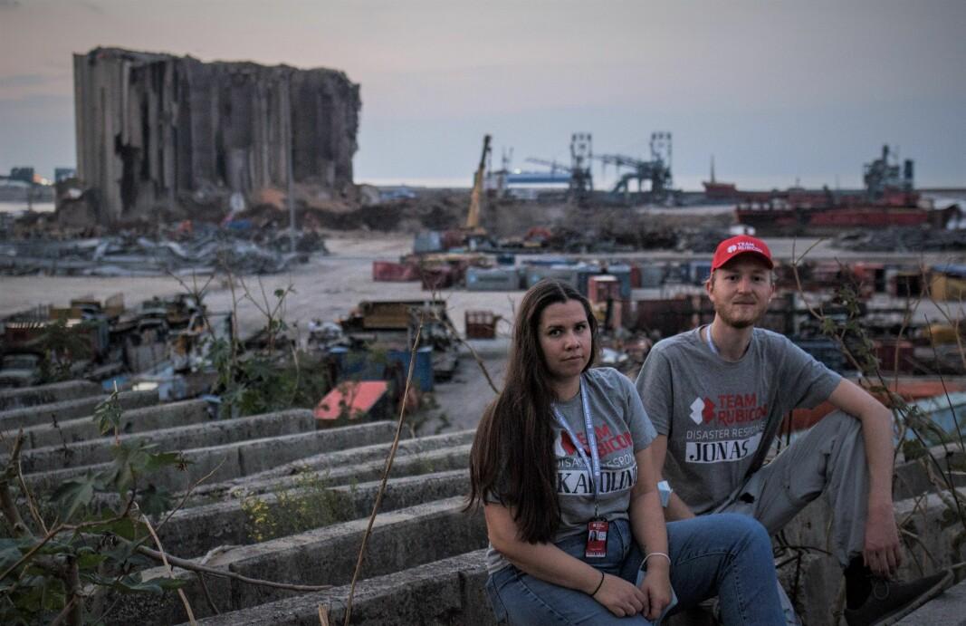 Karoline Saastad og Jonas Aakenes kom til Beirut 7. november for å lansere WAIDs første storskalaprosjekt. Her foran Ground Zero i Beirut.