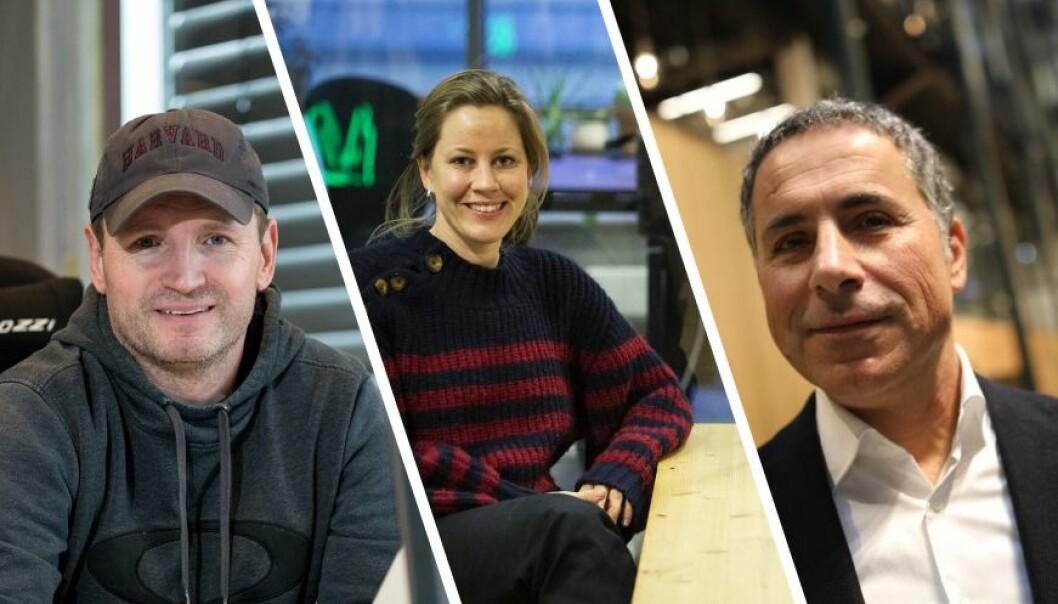 Daglig leder i Defigo, Joachim Stray, CEO Merete Nygaard i Lawbotics, og seriegründer Nardir Nalbant i Homely.