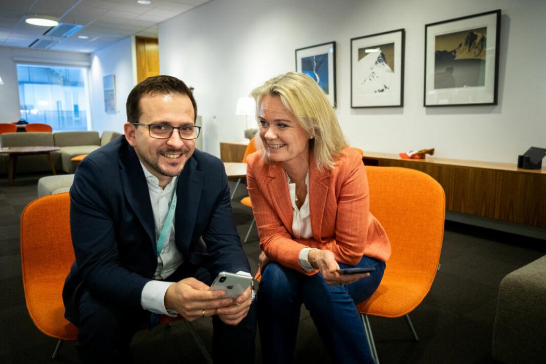 Nicolai Rygh, teknologidirektør og Ingjerd Blekeli Spiten, konserndirektør for Personmarked i DNB har fått skrudd opp utviklingstempoet i bankens digitale kanaler.