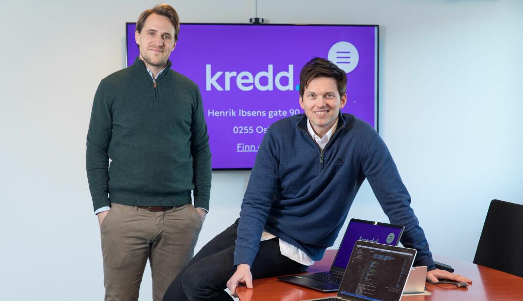 Kredd-gründerne Andreas Talseth (t.v.) og Knut Magnus U. Jacobsen brukte mesteparten av 2020 på en totaloppgradering av plattformen.