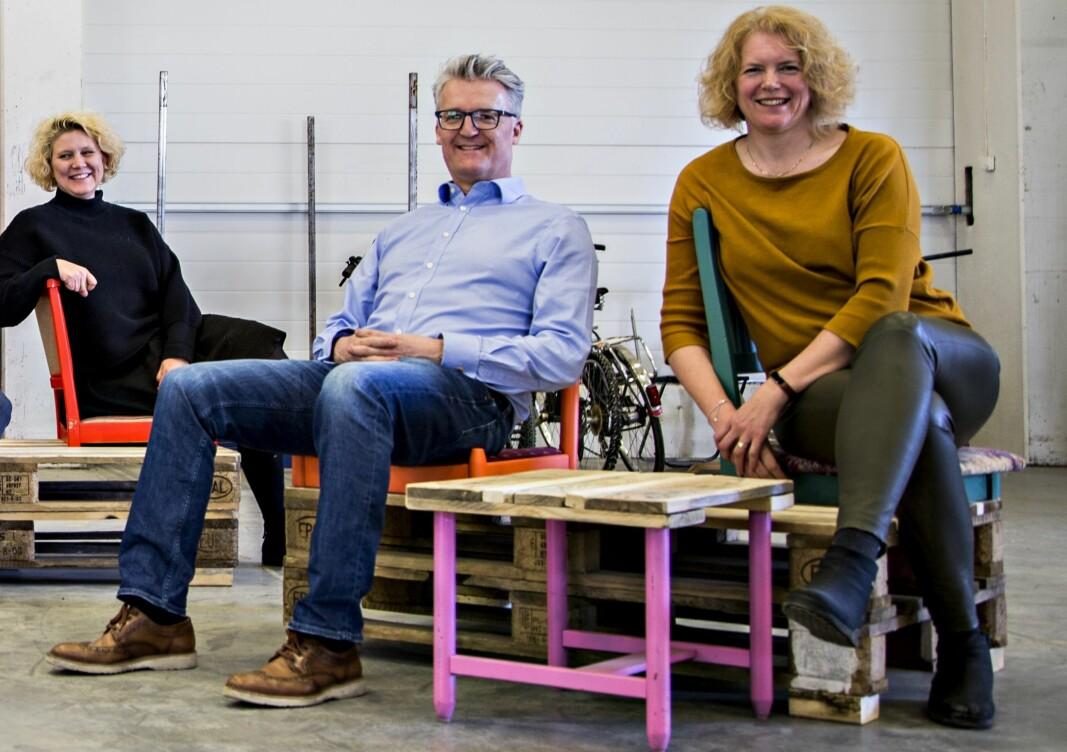 F.v. utviklingssjef Henriette Skretteberg, investeringssjef Espen Daae og direktør Katinka Greve Leiner i Ferd Sosiale Entreprenører.