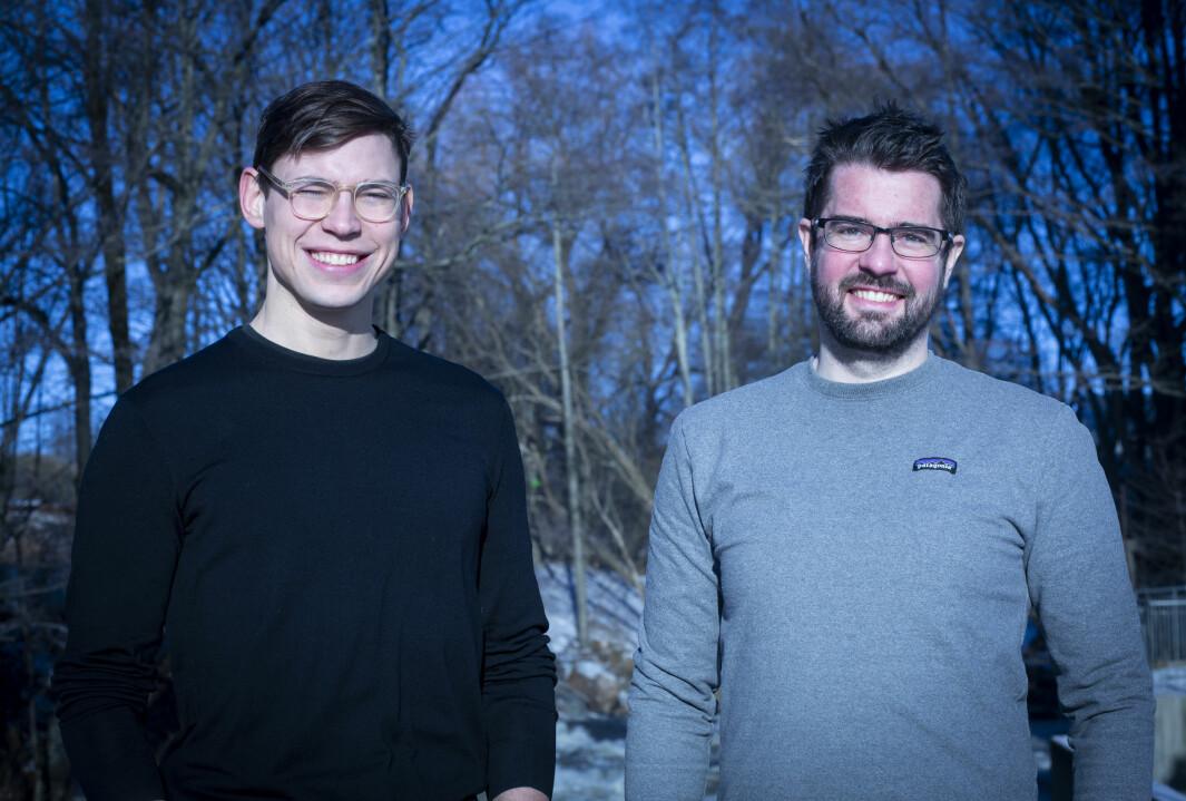 Adam Scheuring (t.h.) og medgründer Oscar Haavardsholm, samfunnsøkonom med bakgrunn som klima- og bærekraftsanalytiker i Vista Analyse, har jobbet intenst i et år for å få verktøyet opp å gå.
