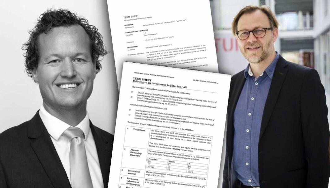 Advokatene Remi Dramstad i Selmer og Stig Nordal i Sands tror startup-Norge er i ferd med å samle seg om en bransjestandard hva gjelder betingelser i tidlig fase.