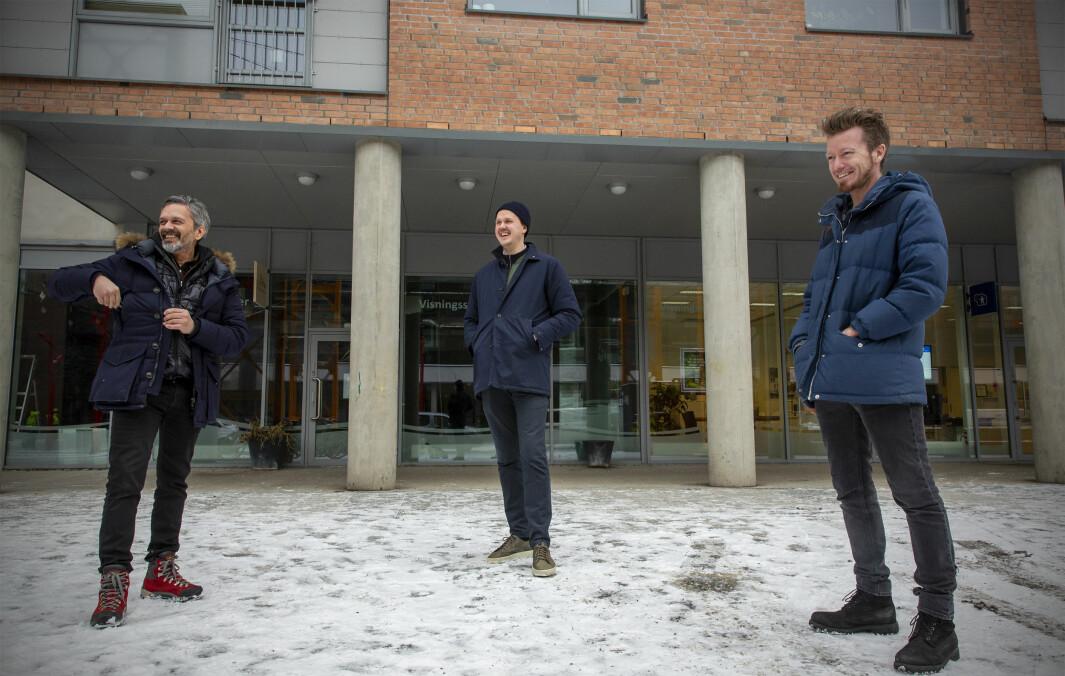 Wasim Rashid i Orbit (f.v.), Espen Alexander Lindkjølen i Obos og Preben Carlsen i Go Good utenfor det nye mini-coworking-spacet de bygger opp i Kværnerbyen.
