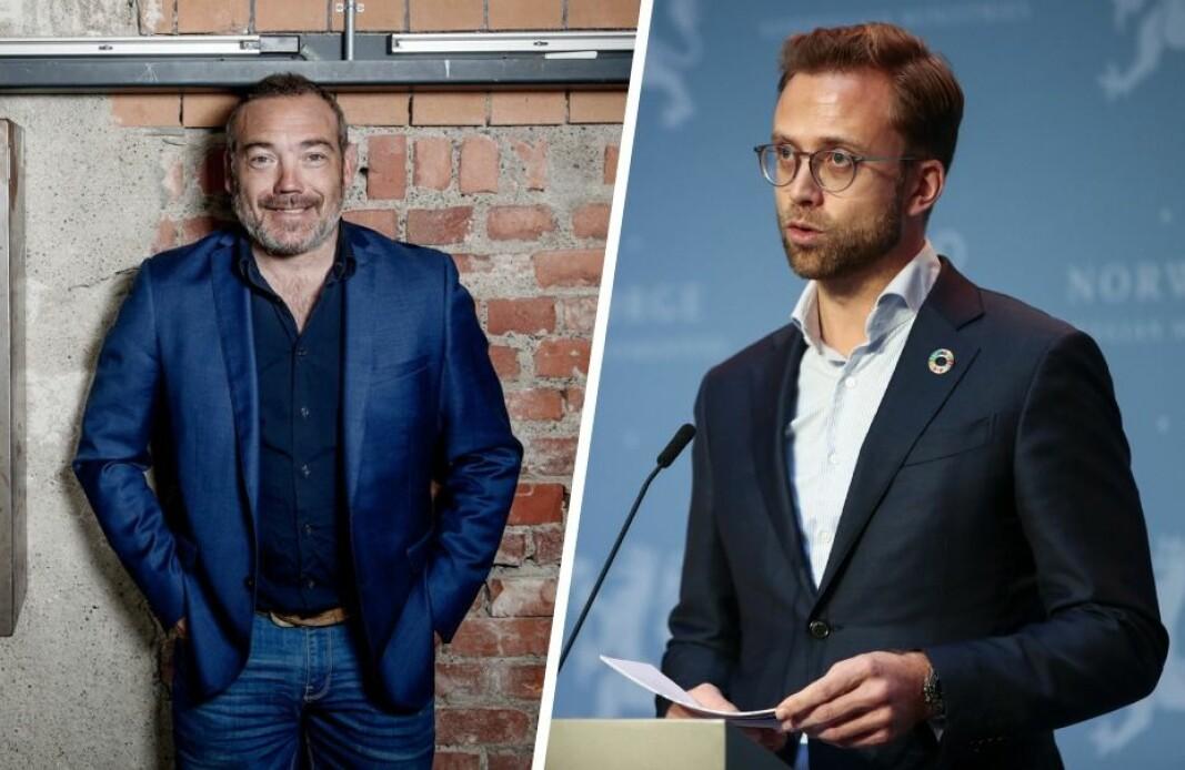 Fredrik Syversen i IKT Norge og moderniseringsminister Nikolai Astrup.