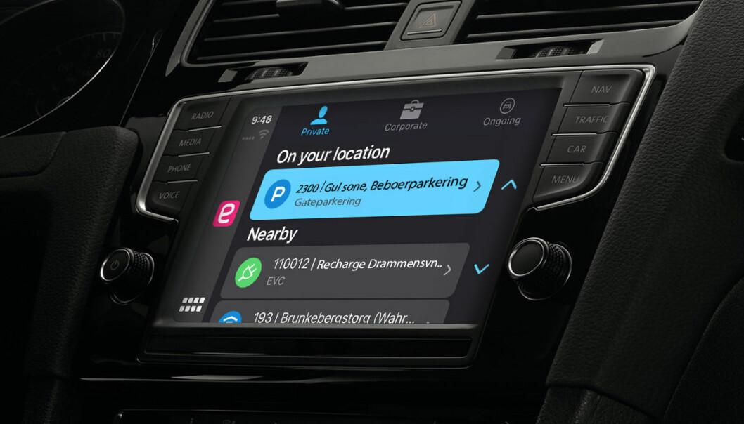 Easypark er nå tilgjengelig i Apples programvareløsning for biler.
