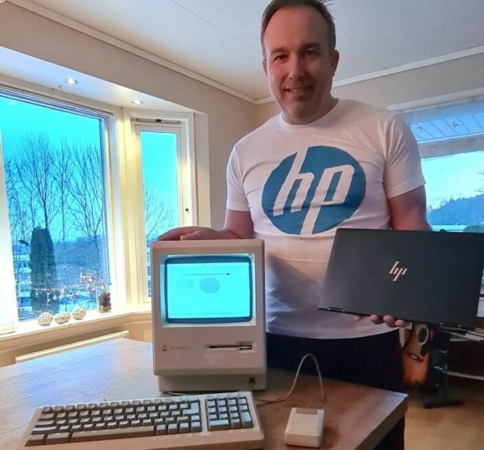 Foto: Bildet rommer nesten 40 års PC-historie. Macintosh, som ble lansert i 1984, med vindubasert brukergrensesnitt og mus, til dagens ypperste teknologi: HP Elite Dragonfly G2, lansert på CES for noen uker siden med 11th gen. Intel Core i7-teknologi.