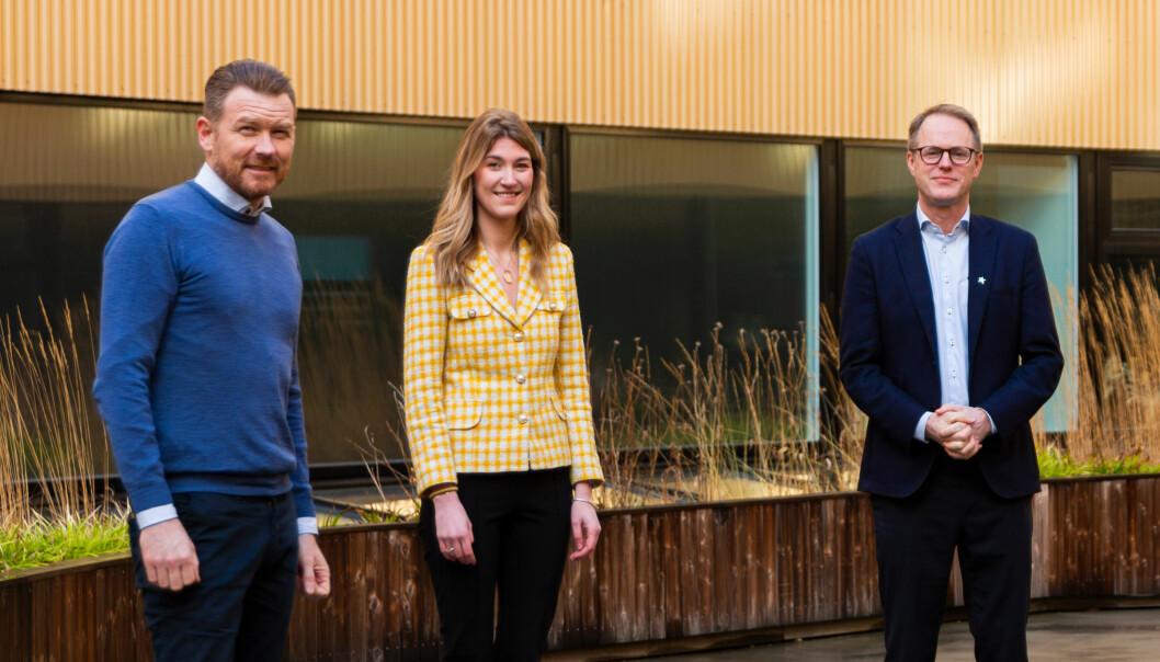 Folkeinvest-trioen, Sverre Konrad Nilsen, styreleder (t.v.), Amalie Holt, kundeansvarlig og Øyvind Fries, daglig leder har nådd mange milepæler det siste halvåret.
