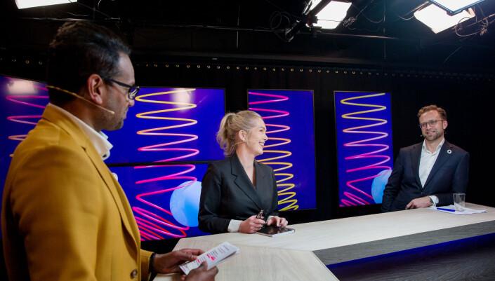 Anita Krohn Traaseth og Nikolai Astrup under Sopra Sterias stream hvor funnene i studien ble presentert 11. mars