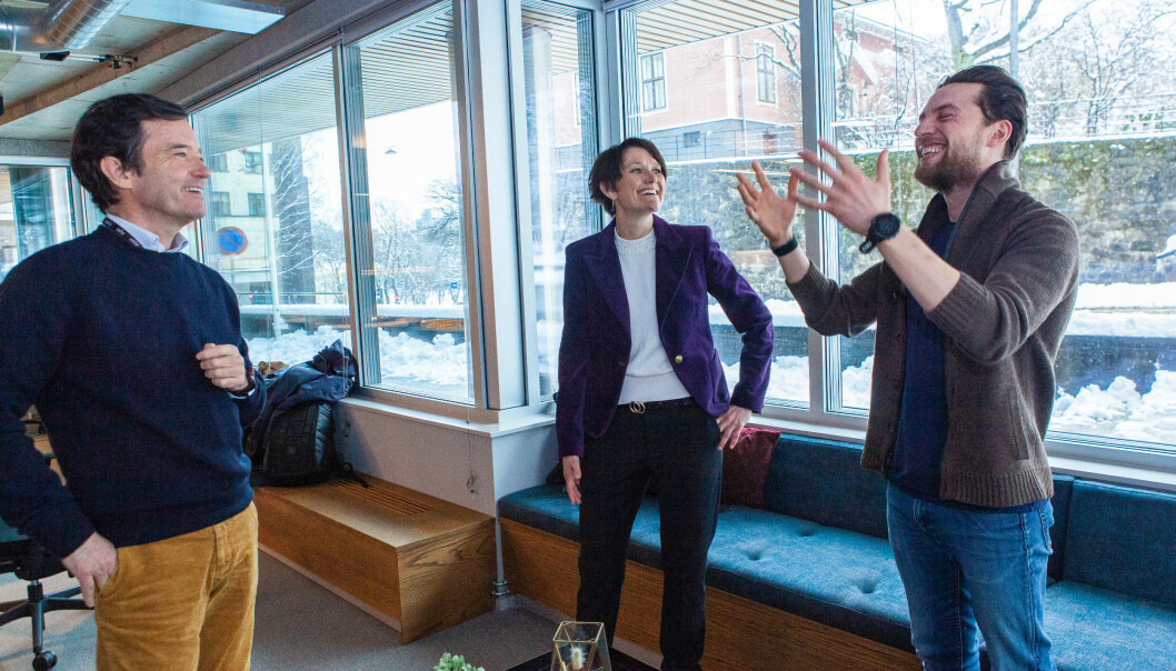 F.v. Investor Trond Riiber Knudsen, Tappin-sjef Ingunn Dahl-Engh, og Mingl-gründer Daniel Fossum.