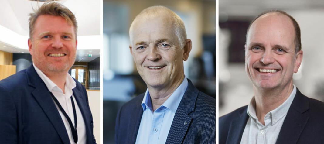 PSD2-trio med mye å gjøre. Fr.v. Kjetil Sørtun, leder for Banking Services i Sparebanken Vest, Øyvind Aass, administrerende direktør i Sparebank 1 Utvikling og Stein Gryte, spesialrådgiver i De Samarbeidende Sparebankene.