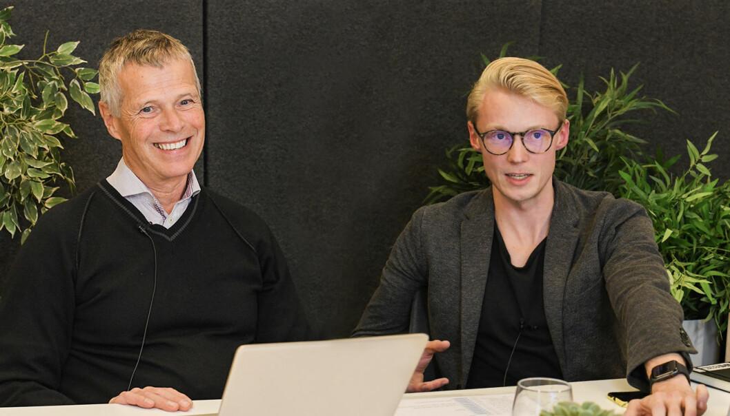 Bjørn Christensen og Eirik Nerdal på scenen under Angel Challenge Fall 2020, som ble live-streamet. Foto: Startup Norway.
