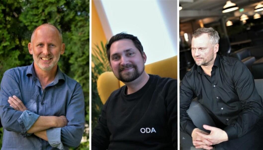 Johan Gjesdahl i Alliance Venture (t.v.) og Preben Songe-Møller i Skyfall Ventures (t.h.) kan glise etter at Oda, ved CEO Karl Munthe-Kaas (midten), har gitt den storgevinster.