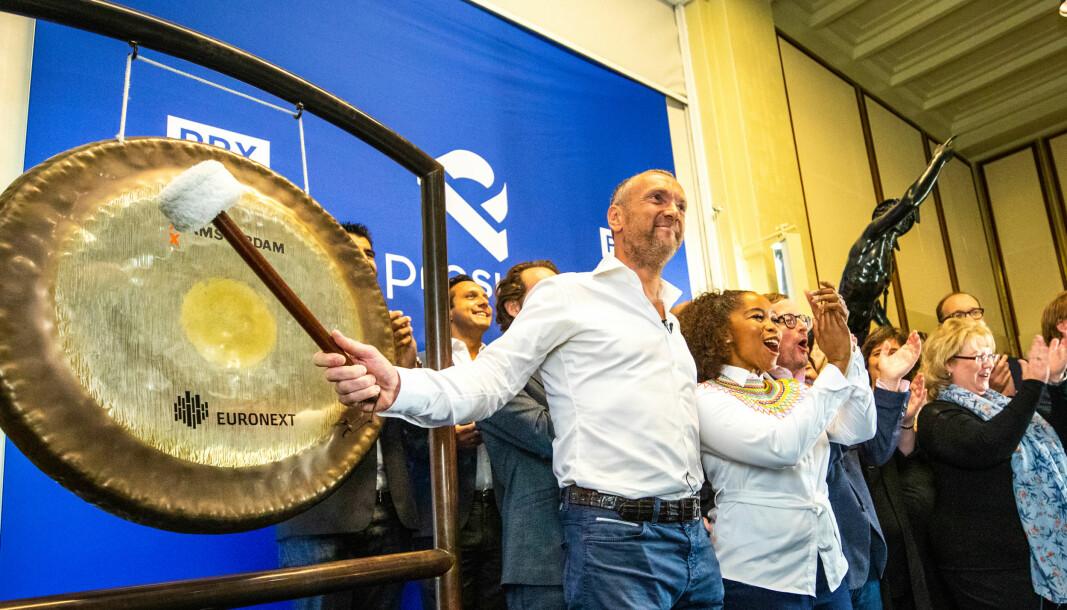 CEO Bob van Dijk under børsnoteringen av Prosus på Euronext i Amsterdam i 2019.