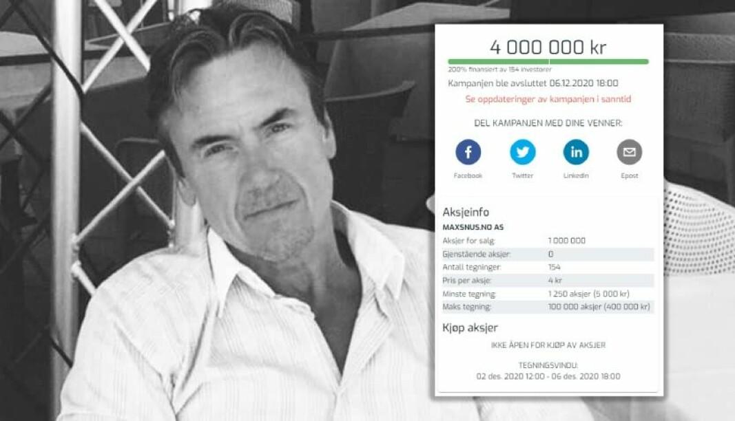 Styreleder Petter Sørlie i MaxSnus.no tar selskapet på børs i Sverige