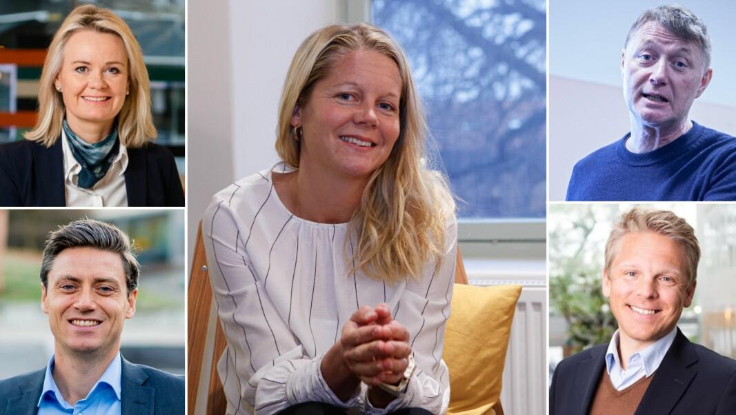 Kjemper en hard om om pensjonskundene. Fra venstre, Ingjerd Blekeli Spiten, DNB, Lars-Erik Eriksen, Storebrand, Emma Tryti, Kron, Asbjørn Erdal, Duvi og Anders Skar, Nordnet.