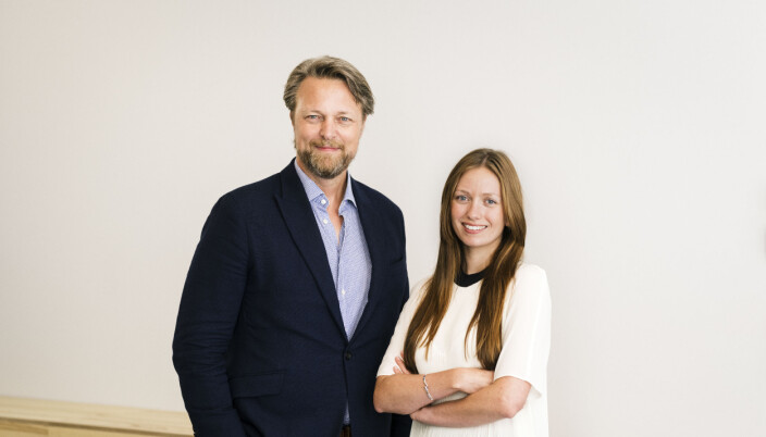 Med-gründer og daglig leder Jarle Holm fra Monner med markedssjef Marie Moxnes Harfjeld.