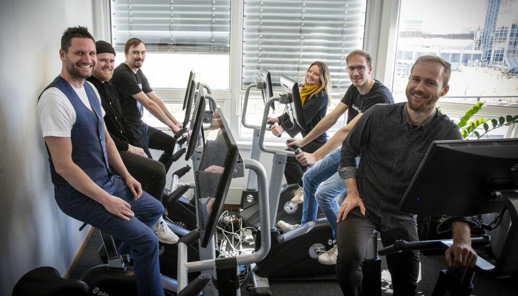Playpulse-teamet i nye lokaler på Grønland i Oslo. Fv. Kristoffer Hagen, Magnus Arnkværn, Jonas Larsen, Ingrid Garborg, Stian Weie og Erling Magnus Solheim. Selskapet skal nå satse på å levere sykler til hjemmetreningsmarkedet, og salget er allerede godt i gang.