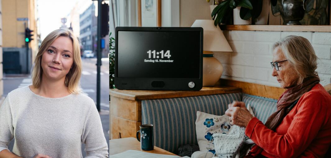 Karen Dolva og No Isolation selger en nettbrettlignende datamaskin som gjør det såre enkelt for eldre å holde kontakt med familien sin online, selv om de ikke kan svært lite eller ingenting om internett.