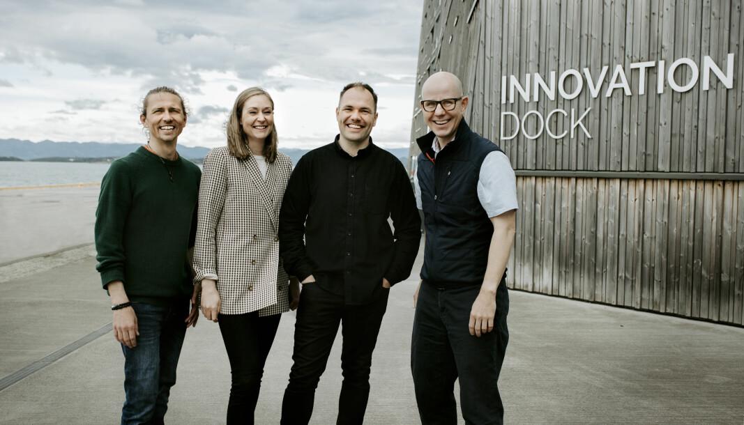 Sean Paul Shanor, Pia Warland, Nickolas Thomasgaard, Tore Gjedebo i Fauna Eksperimentet . Her utenfor Innovation Dock øst for Stavanger sentrum