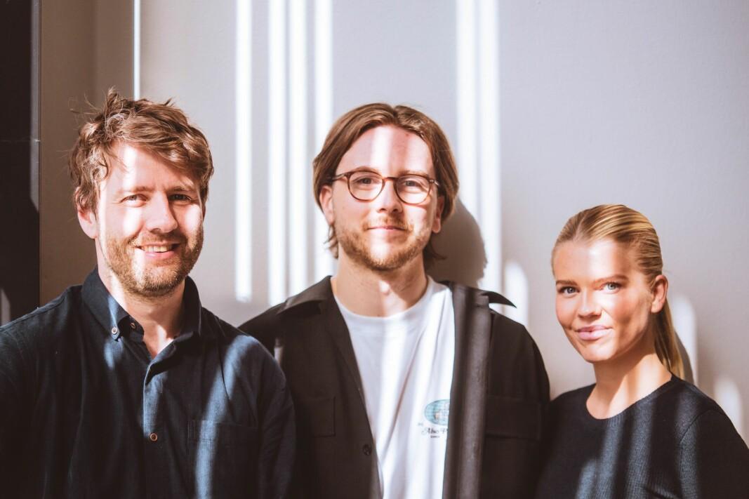 Tine Karlsen (CEO), Nicolay Thafvelin (CTO) og Fredrik Evjen Ekli (CPO) i Vev.