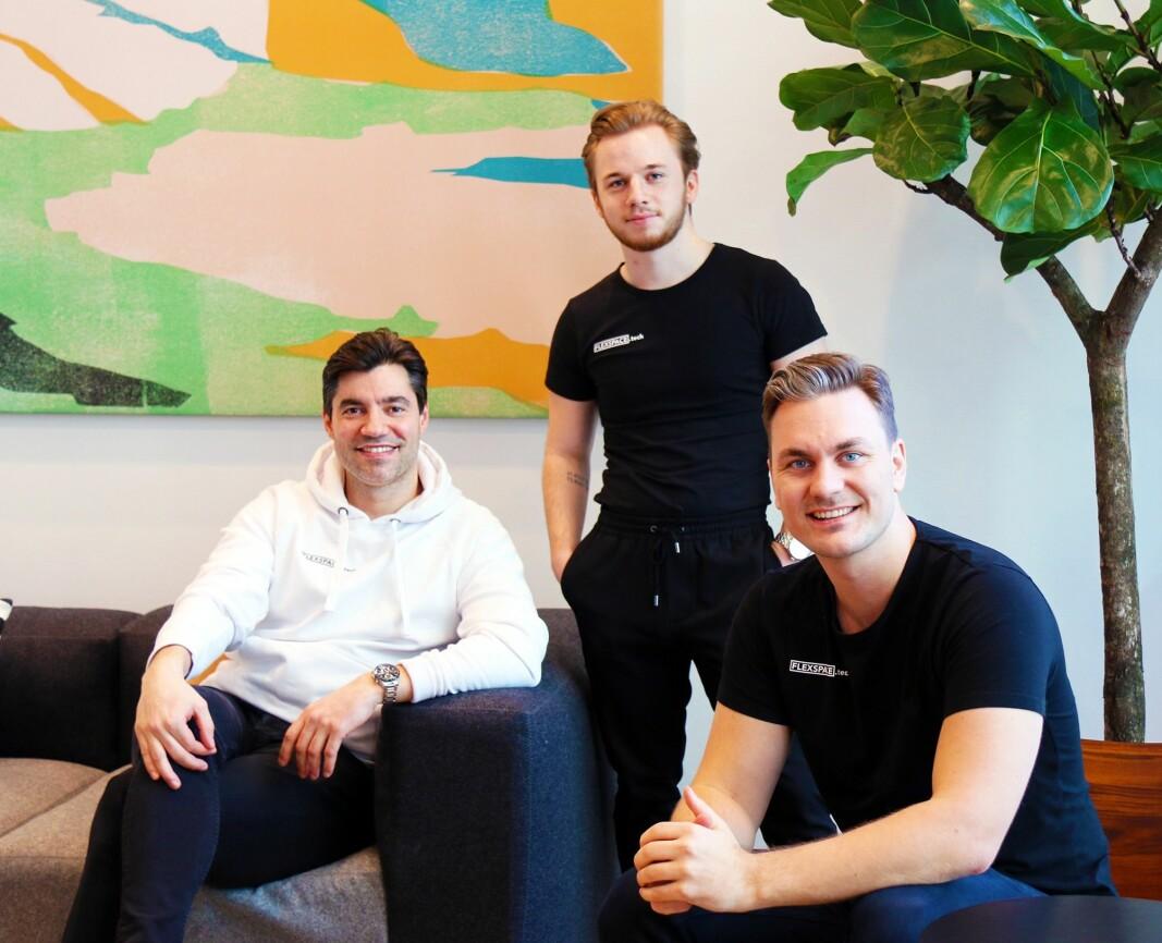 Flexspace-teamet i Oslo: F.v. administrerende direktør Michael Angelo Justiniano, intern Simen Strandos og salgssjef Jens Rask-Jensen.
