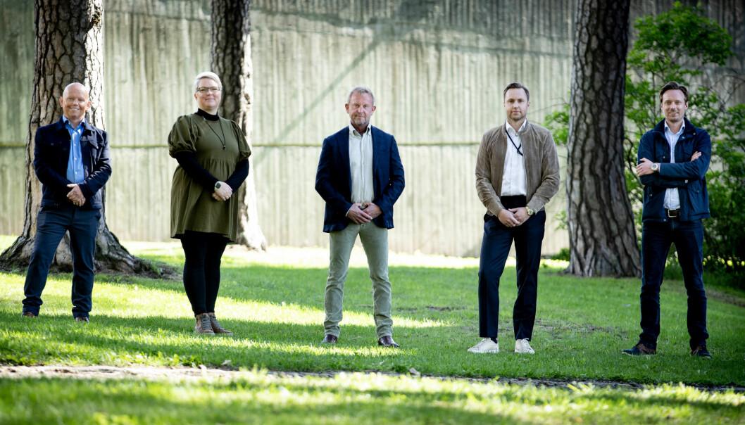 Aspit-teamet f.v. CCO Geir Samland, CPO Mette Kjærnet Udø, CEO og gründer Dag Helge Kaslekås, CBO Kristian Fenger Sjøberg Moum og CFO Martin Fagerlund.