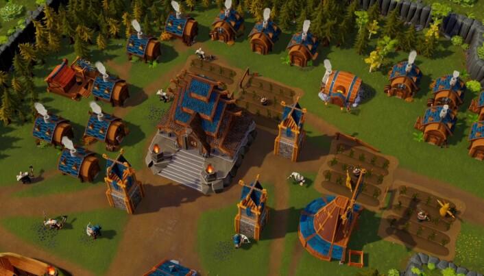 En typisk landsby/spiller-base i DwarfHeim