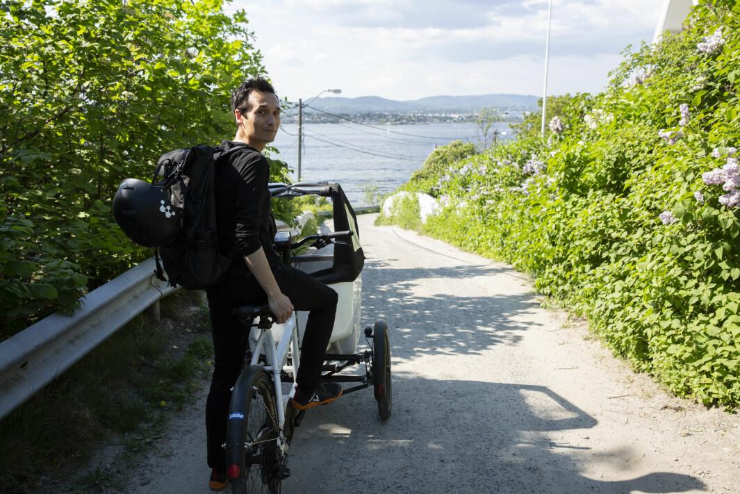 Victor Henning kjøpte lastesykkel med tre hjul etter en litt glatt vinter.