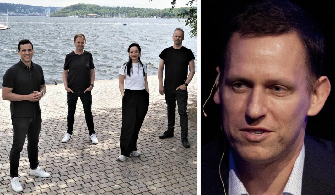 Snö-teamet, f.v. Max Samuel, Magne Uppman, Kremena Tosheva og Teodor Bjerrang. Suksessgründer og investor Peter Thiel til høyre.