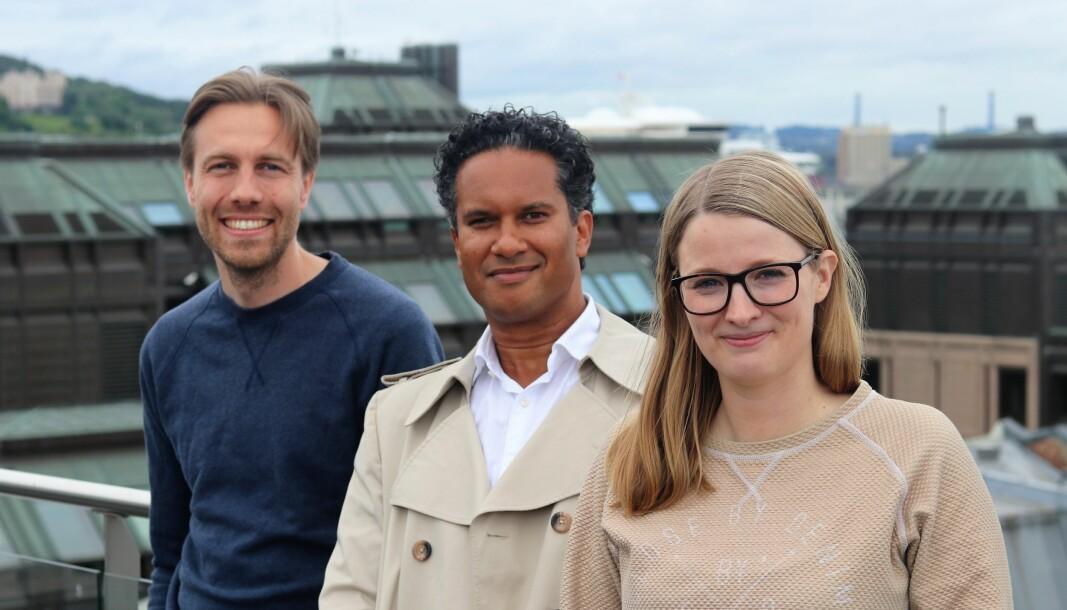 CEO i Cloud Insurance, Axel Sjøstedt, CEO i Kinga Insurance Tariq Adams og Benedicte Aase Vabø, People and Project Manager i Cloud Insurance. Hun er prosjektleder for Global Motor Administrators.