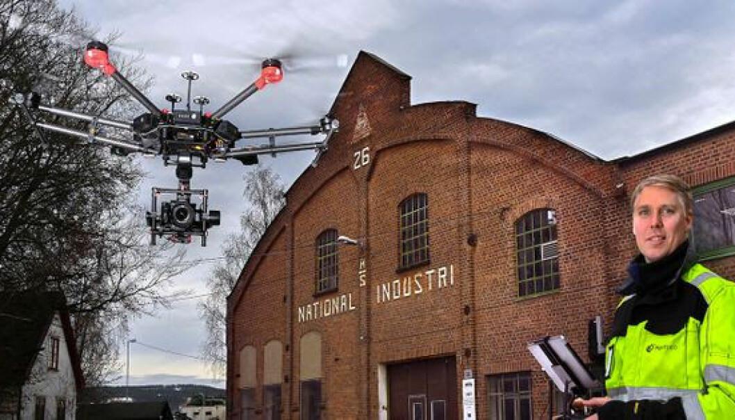 Tomas Fritsvold i Senseloop avbildet med drone under utbyggingen av nye Drammen sykehus