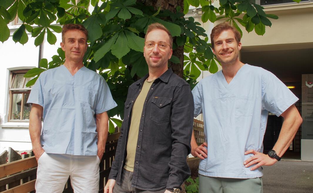 Deler av Evaksine-teamet. Her ved lege Finn Strekerud, daglig leder Tony Gravé og lege Mads Istre.