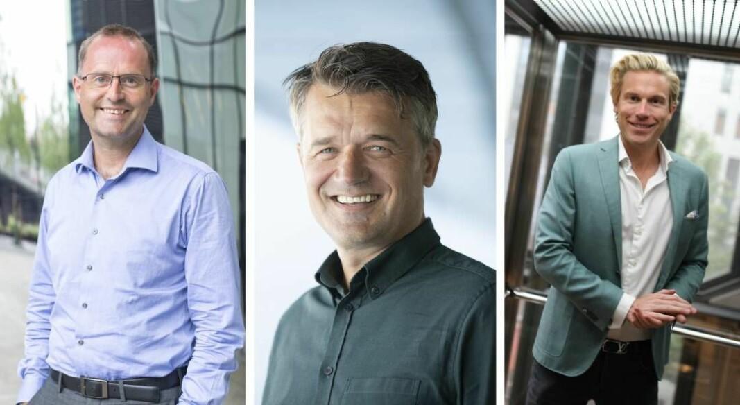 Lars Erik Fjørtoft (t.v.) er fagekspert på fintech i Pwc, mens Christoffer Hernæs (t.h.) er fintech-konsulent og investor. Vipps-sjef Rune Garborg i midten.