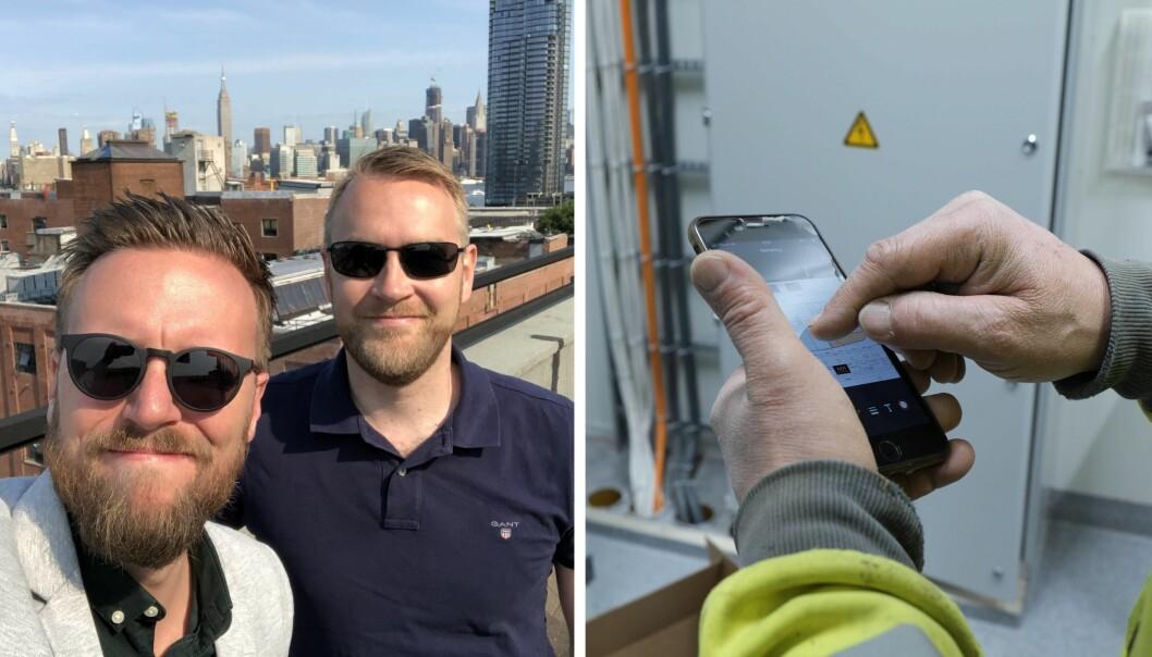 Markedssjef Daniel Skotheim og daglig leder Jan Tore Grindheim under en av mange turer til USA. Bildet til høyre viser Fonn-appen.