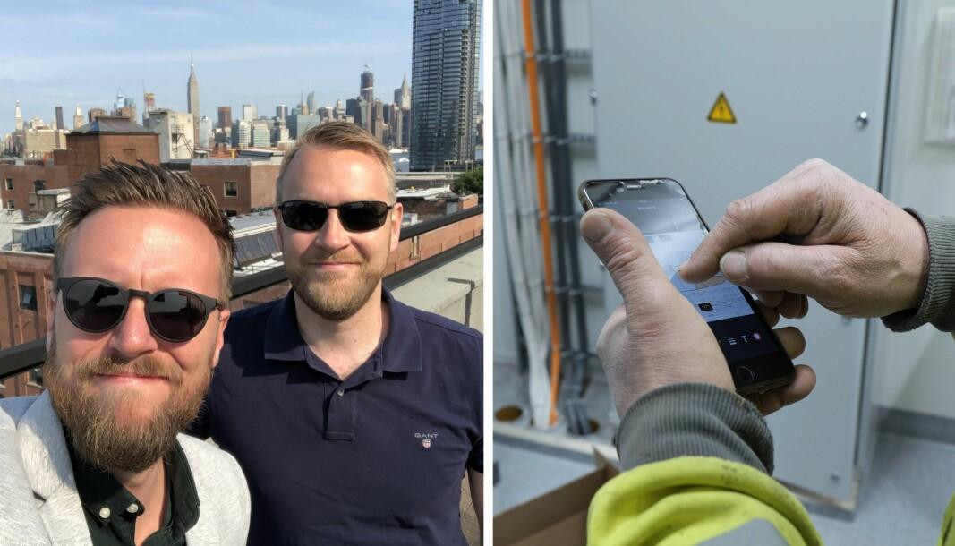 Fonn på tur med Innovasjon Norge. Her ved markedssjef Daniel Skotheim og daglig leder Jan Tore Grindheim. Bildet til høyre viser Fonn-appen.