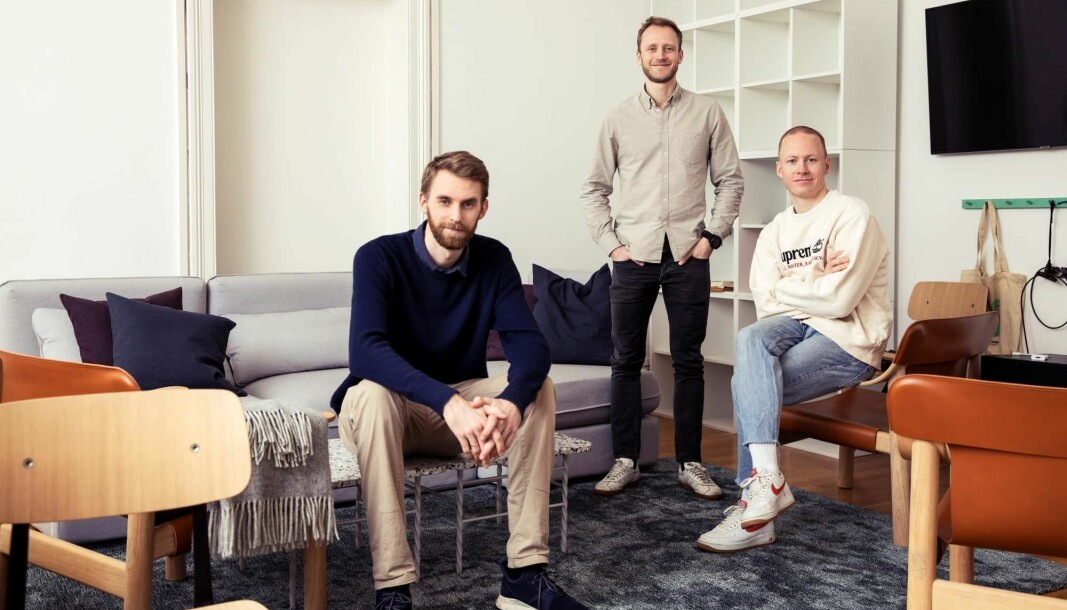 F.v. Thorvald Thorsnes, Henrik Langeland og Nikolai Heum. Gründertrioen har alle bygget selskap før - nå gjør de det sammen.