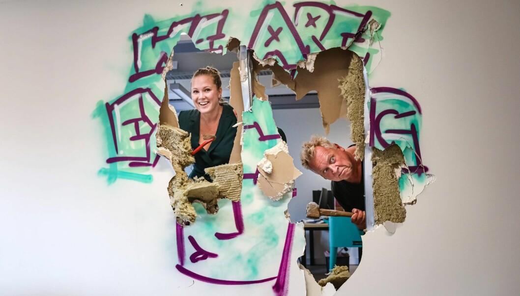 Kimberly Larsen og Lasse Andresen har funnet hverandre både faglig og personlig. Her under en noe uvanlig workshop.