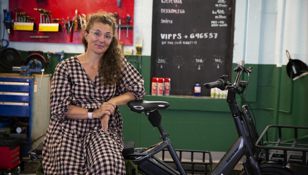Kari Anne Solfjeld Eid har fraktet det meste av unger og varer på sykkelen fra Whee!.