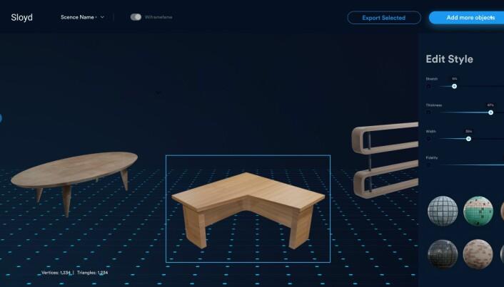Slik ser MVP-en til Sloyd ut i dag. Spillutviklere kan enkelt opprette og justere 3D-objekter, for så å eksportere dem til eget verktøy eller rett inn i spill.