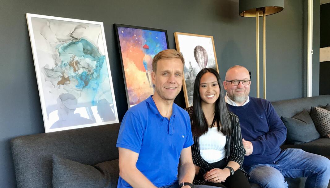 Gründerteamet i Inzpero: Frank Keller (daglig leder), Abigail Panganiban og Svein Malmedal.
