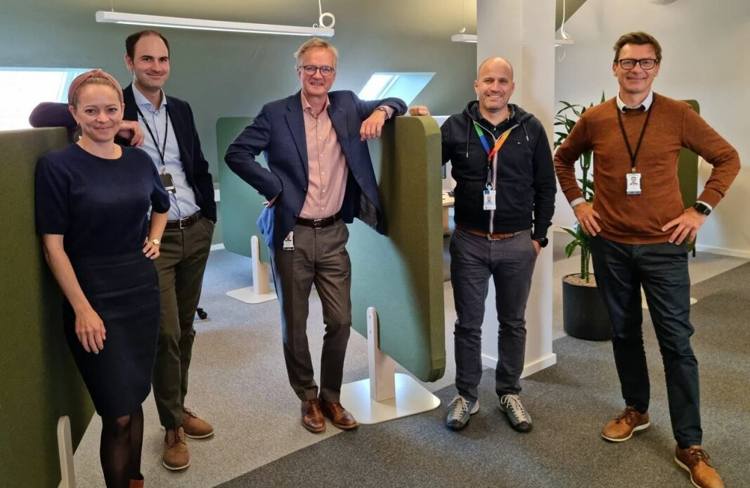 Sintef TTO-teamet, f.v. investeringssjef Eli Grong Aursand, CFO Morten Frost-Nielsen, administrerende direktør Anders Lian, investeringssjef Inge Hovd Gangås og investeringssjef og IP Manager Jostein Bjøndal.