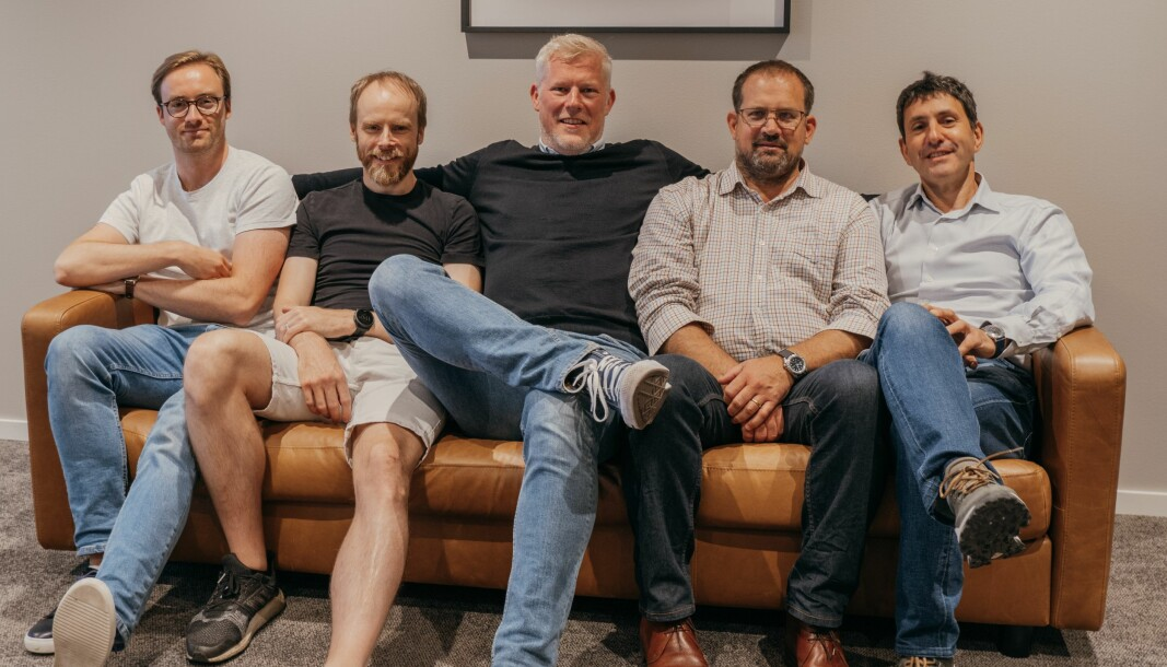 Steffen Sødal (Customer Experience), Jon Valvatne (CTO), Eskil Bradley (CEO), Tim Bray (Salg) og Maurizio Mariani (IoT Products & Operations) i D-Fetch