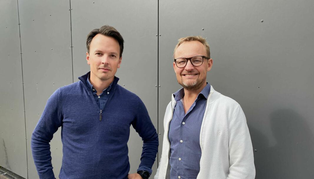 Daglig leder Anders Skjetne (t.v.) og produktsjef Stian Andersen i Centiga skal hjelpe regnskapsførere å løfte lønnsomheten med et rimelig regnskapssystem uten transaksjonskostnader.