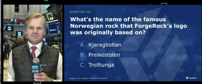Norske fjellformasjoner som tema i quizen på New York Stock Exchange torsdag ettermiddag.