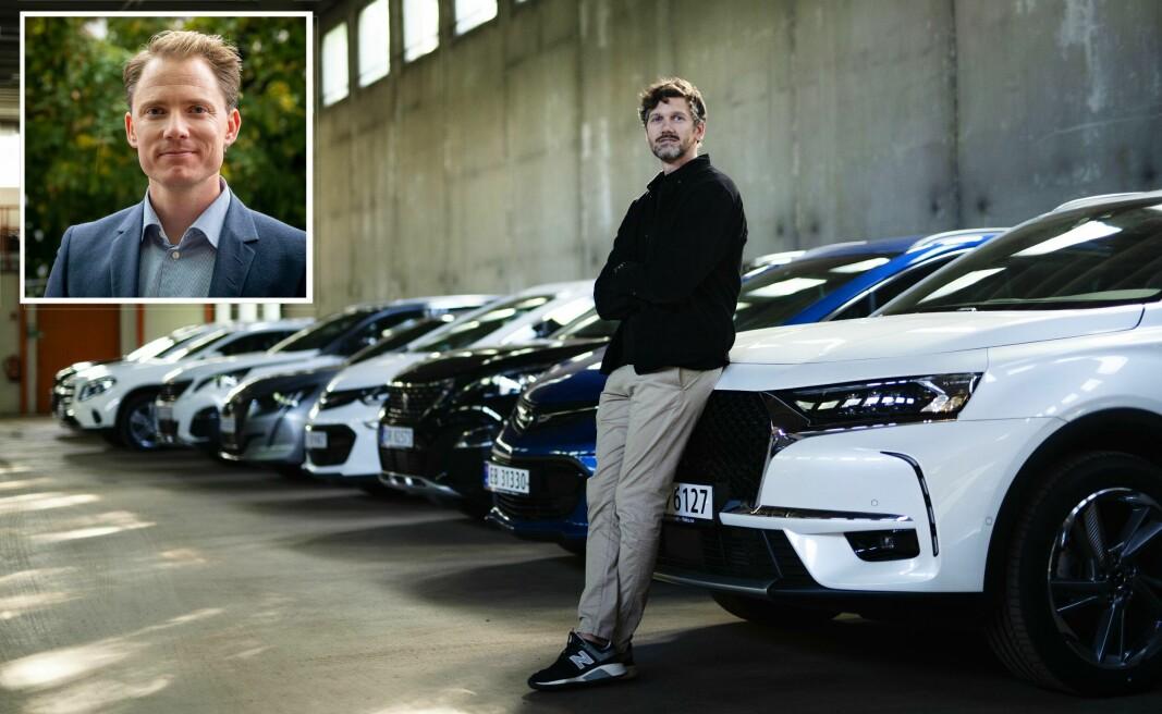 Petter Kjøs Utengen i Fleks (store bildet) ser store muligheter med at Sparebank 1 og Petter Lykke jobber med å få plass en mulighet til å begynne å abonnere på bil direkte i bankalliansens digitale flater.